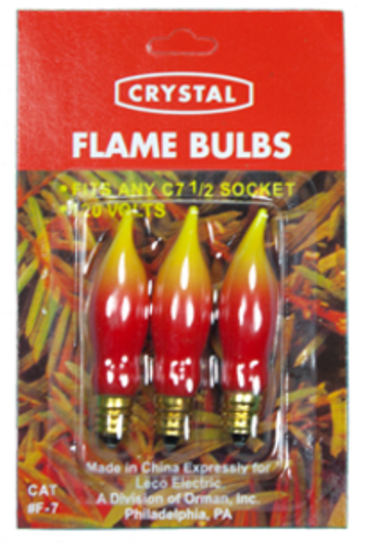 C7 Flame Bulb Red/Yellow 7W- (3 PK x's 25)