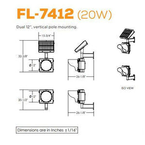 Dual, Vertical Pole Mounting Flashing Beacon | FL-7412