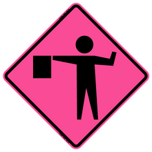 Load image into Gallery viewer, W20-7A Flagger Symbol - Roll Up Sign