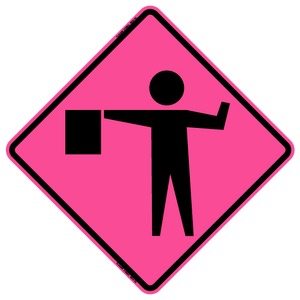 W20-7A Flagger Symbol - Roll Up Sign