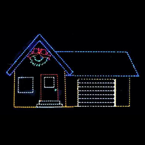 House with Animated Garage Door Yard Decoration