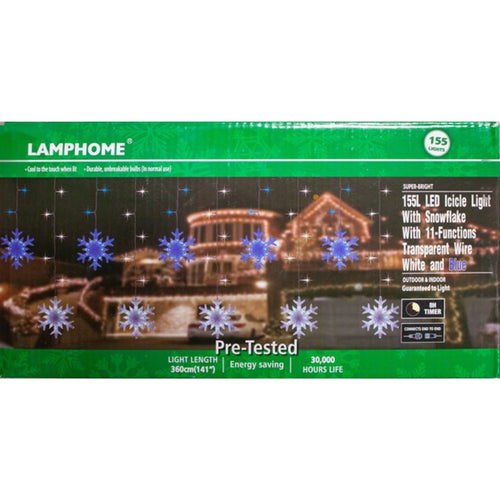 11.5ft LED Icicle Light Set with Snow Flakes