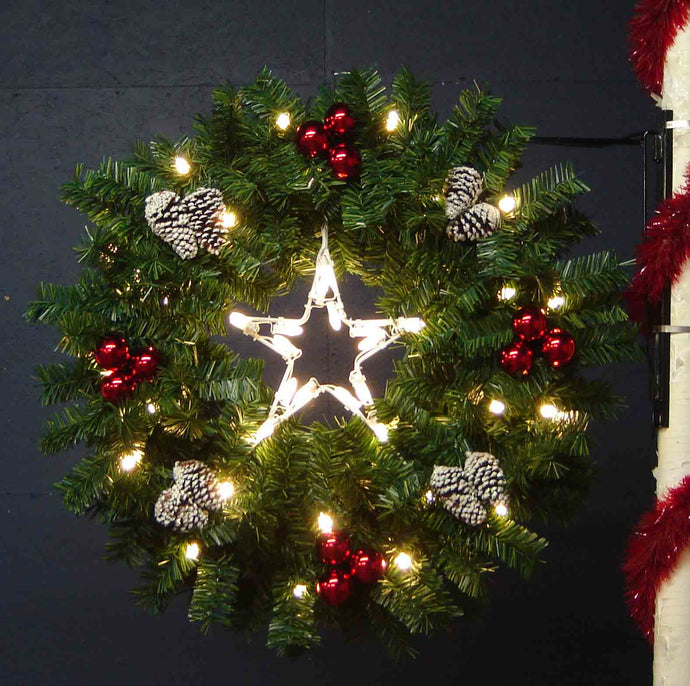 4' Pole Mount Garland Deluxe Wreath with Star