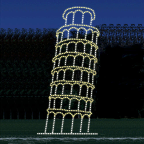8' x 18' Leaning Tower of Pisa Silhouette