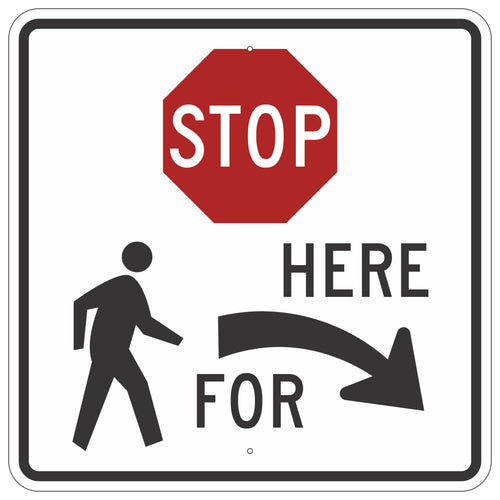 R1-5BR Stop Here For Pedestrians Sign