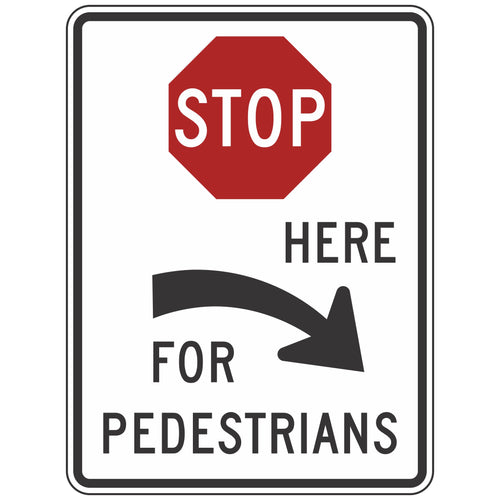 R1-5CR Stop Here For Pedestrians Sign