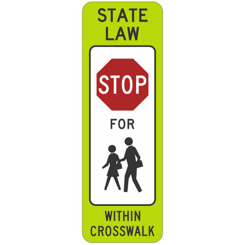 R1-6C Stop Pedestrian Crosswalk Sign