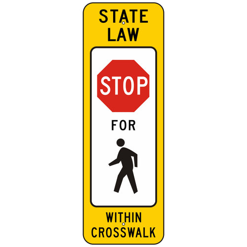 R1-6A Stop Pedestrian Crosswalk Sign