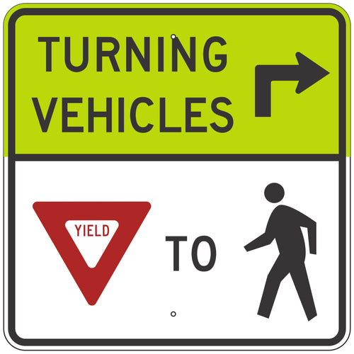 R10-15RF Turning Vehicles Yield to Pedestrians Sign