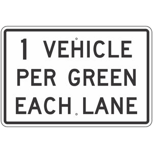 R10-29 ___ Vehicles Per Green Each Lane Sign