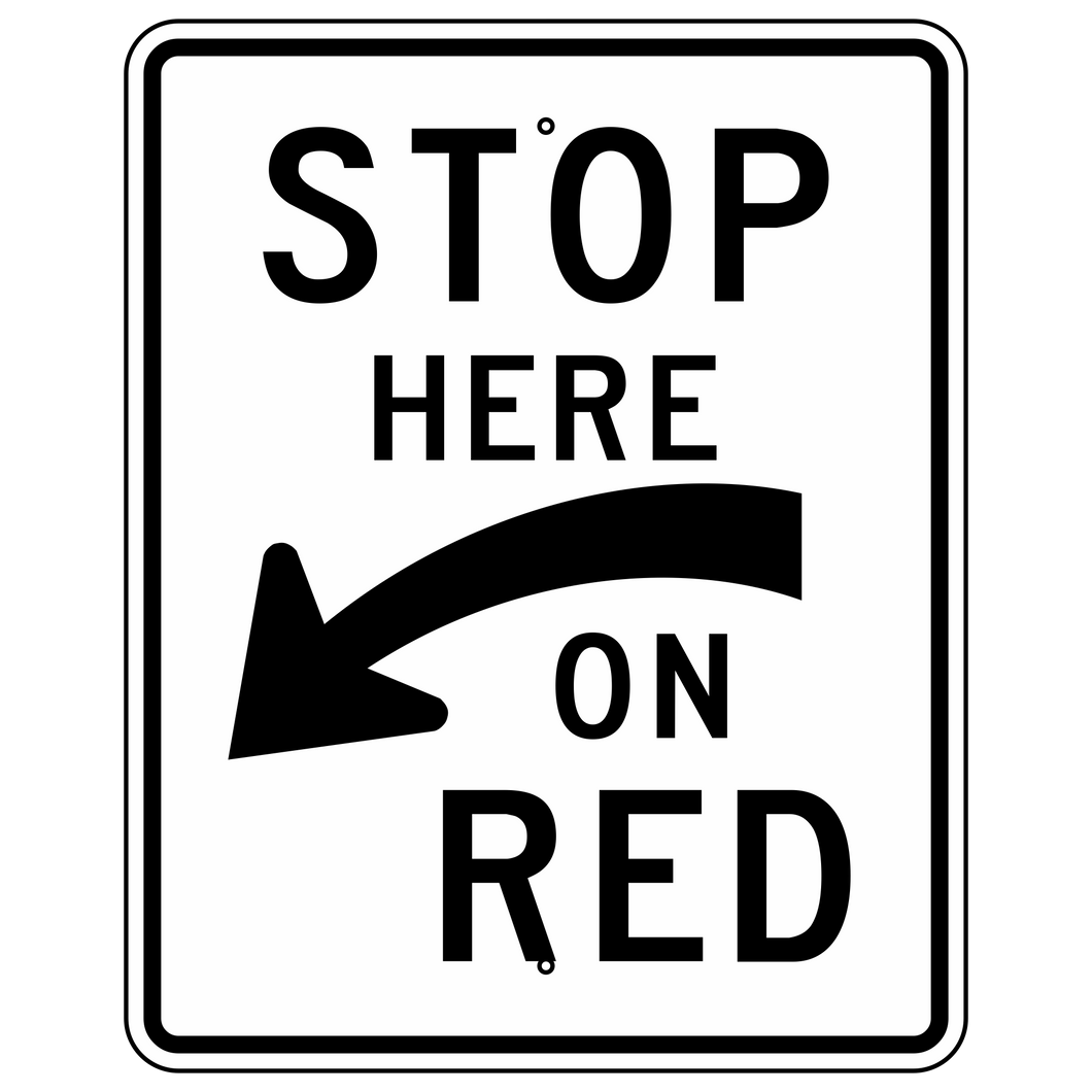 R10-6AL Stop Here On Red With Curved Left Arrow Sign