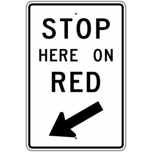 R10-6L Stop Here On Red with Left Arrow Sign