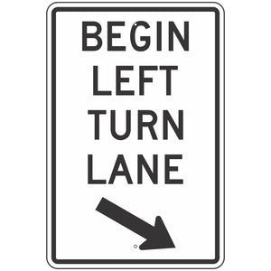 R3-20L Begin Left Turn Lane Sign