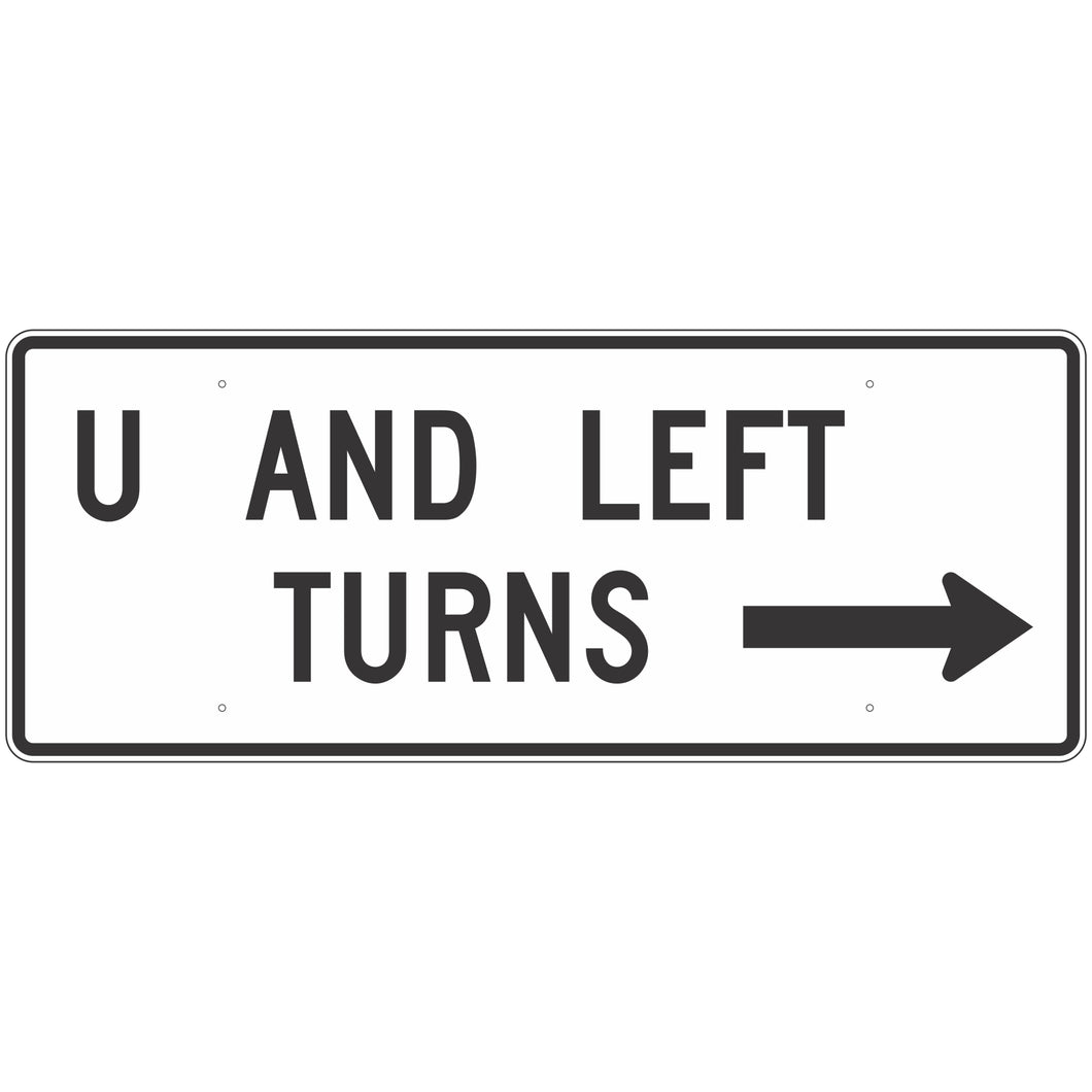 R3-25A U and Left Turns With Arrow Sign