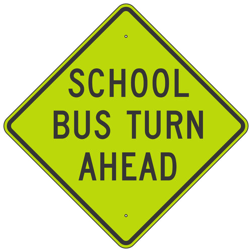 S3-2 School Bus Turn Ahead Sign