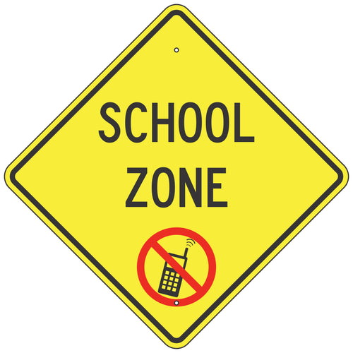School Zone, No Cell Phone Use Sign