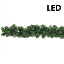 "Load image into Gallery viewer, 9'x  10"" Prelit LED Pine Garland Clear 