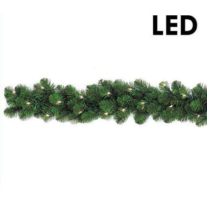 "9'x  10"" Prelit LED Pine Garland Clear 