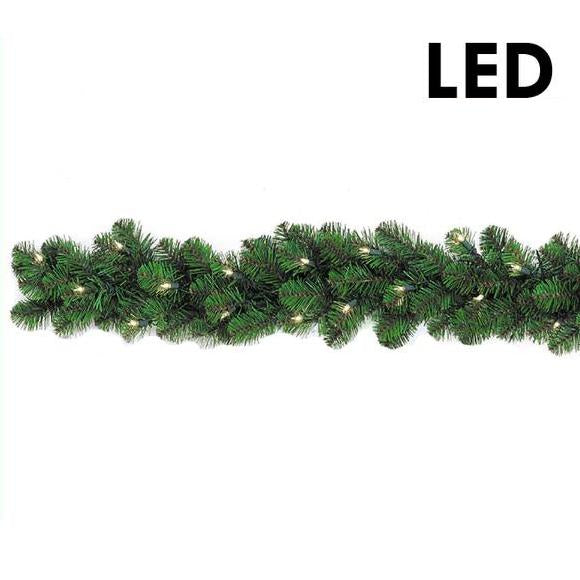 9' LED Lighted Branched Garland - 50 Light | PK-6