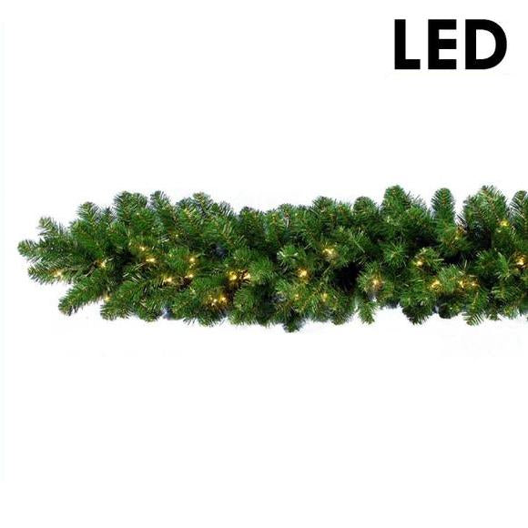 9' LED Lighted Branched Garland - 150 Light | PK-6