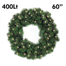 "Load image into Gallery viewer, 60"" Pine Lit Christmas Wreath, 400Lt 