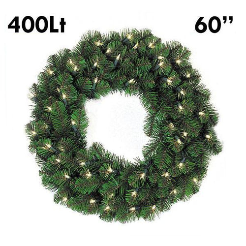 Pine Lit Christmas Wreath - 60