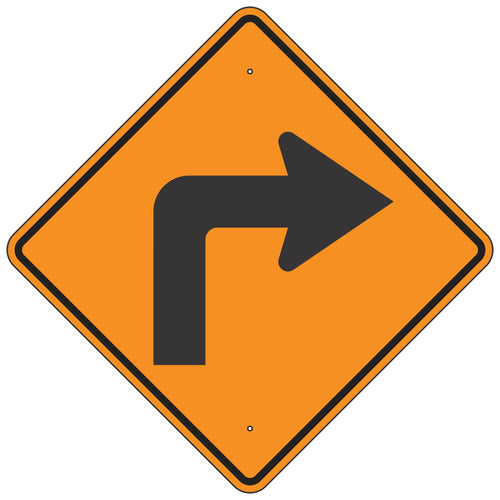 W1-1R Right Turn Orange Horizontal Alignment Sign