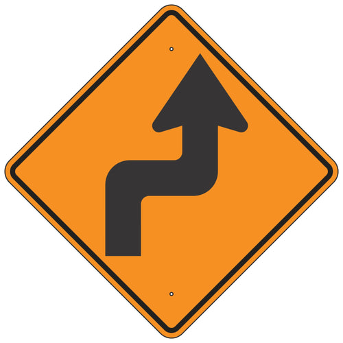 W1-3R Reverse Turn Right Orange Horizontal Alignment Sign