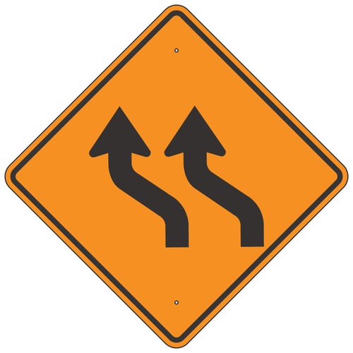 W1-4BL Double Reverse Curve Left Horizontal Alignment Sign
