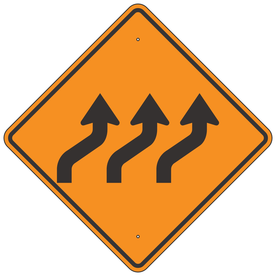 W1-4CR Triple Reverse Curve Right Horizontal Alignment Sign