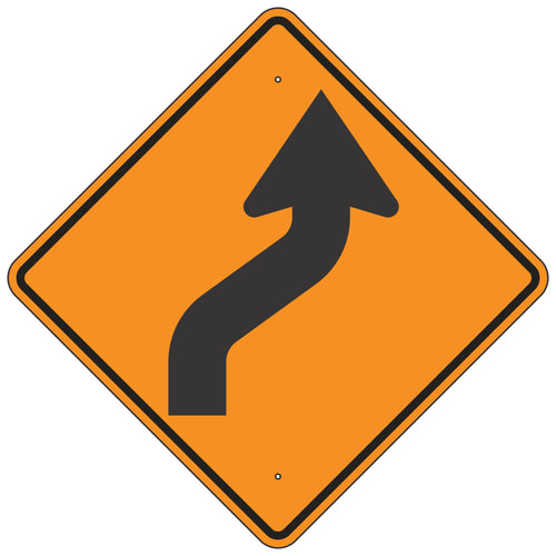 W1-4R Reverse Curve Right Orange Horizontal Alignment Sign