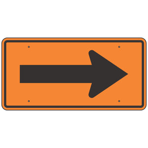 W1-6 Arrow Single Reversible Direction Orange Sign