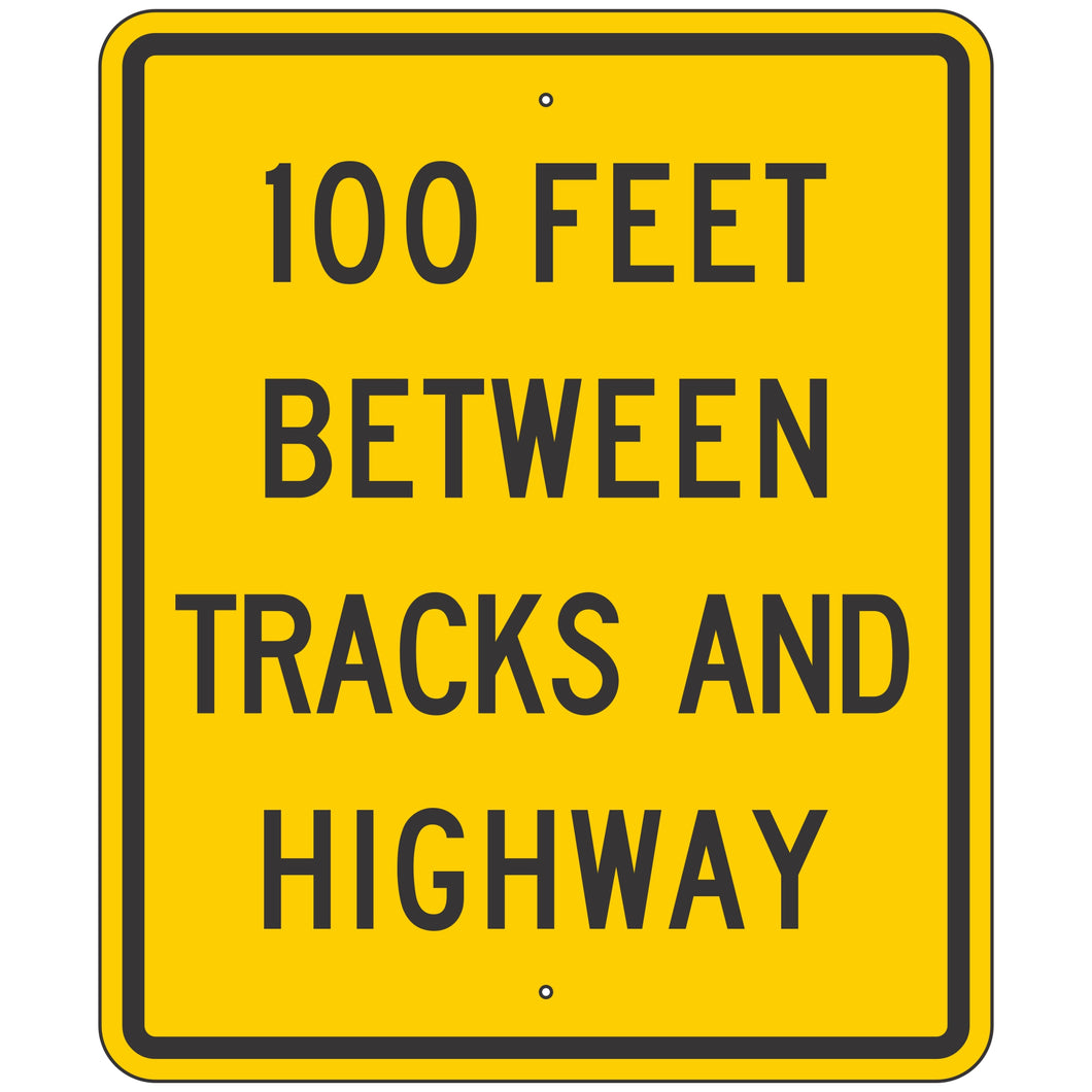 W10-11A XX Feet Between Tracks and Highway Sign