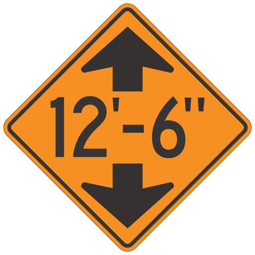 W12-2 Low Clearance (With Arrows) Orange Sign