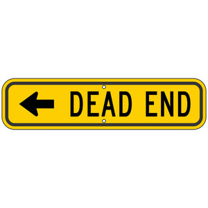 W14-1AL Dead End (Left Arrow) Sign