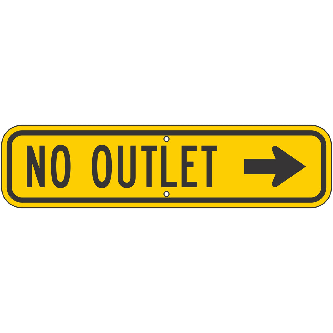W14-2AR No Outlet (Right Arrow) Sign