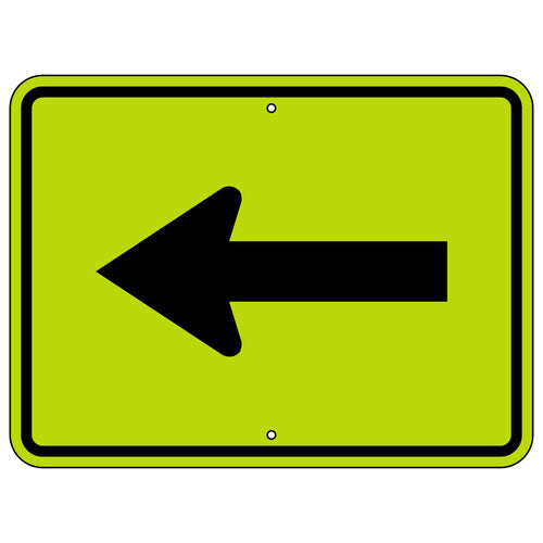 W16-5P Single Left Arrow Warning (Plaque) FYG Sign