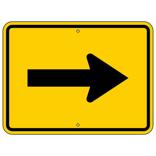 W16-5P Single Right Arrow Warning (Plaque) Sign