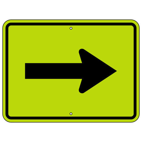 W16-5P Single Right Arrow Warning (Plaque) FYG Sign