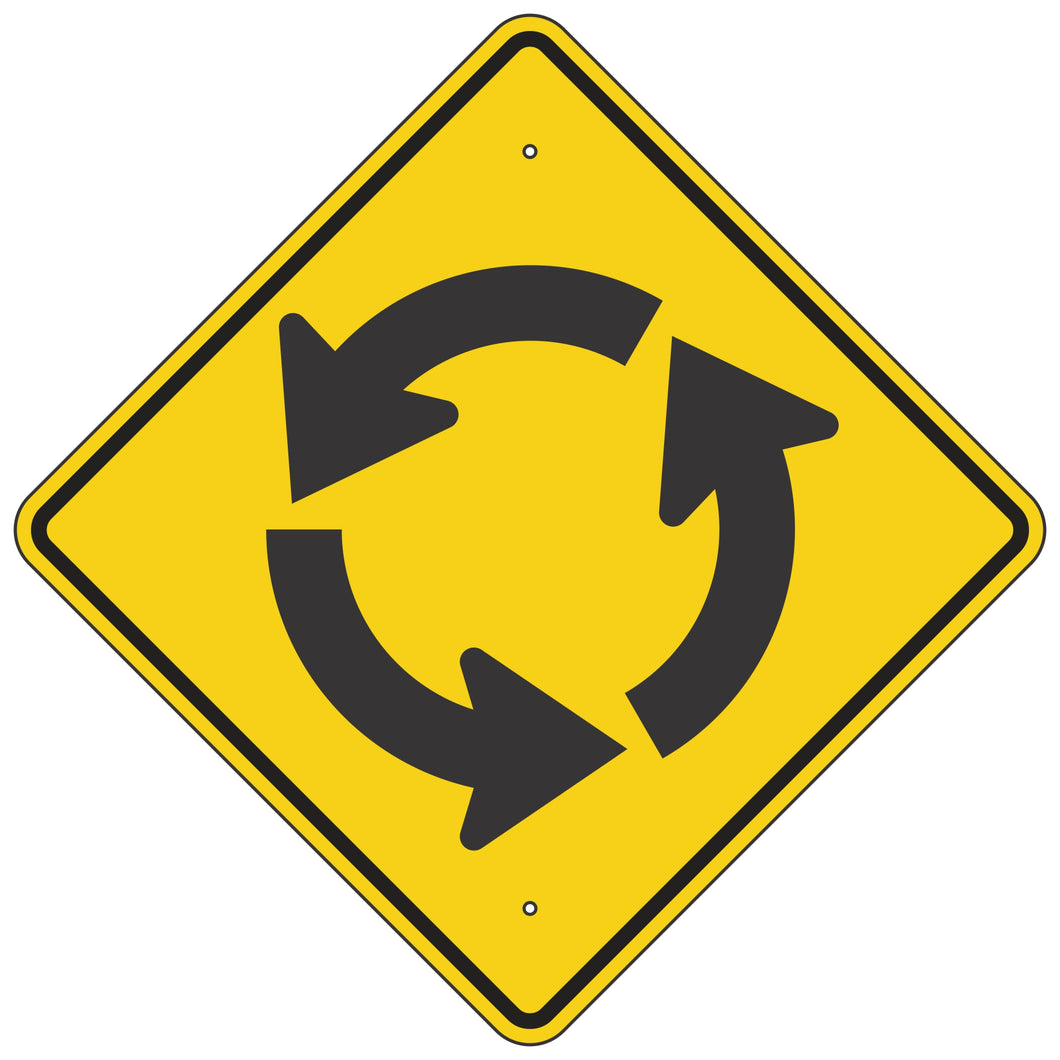 W2-6 Roundabout Intersection Warning Sign