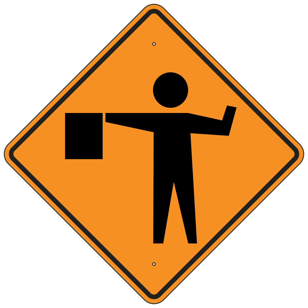 W20-7 Flagger Sign