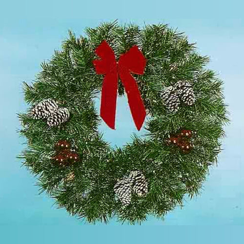 3' Natural Garland Wreath - Building Front