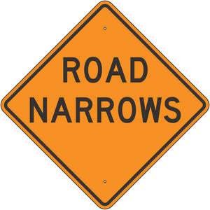 W5-1-O Road Narrows Orange Sign