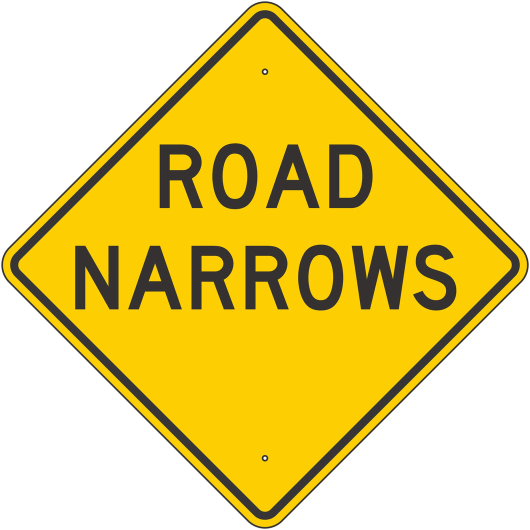 W5-1-Y Road Narrows Yellow Sign