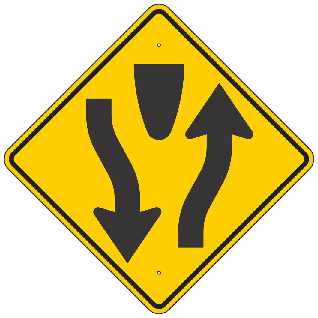 W6-1-Y Divided Highway Yellow Sign
