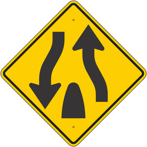 W6-2-Y Divided Highway Ends Yellow Sign