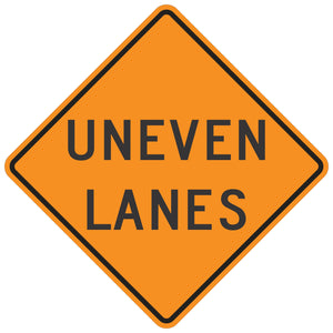 W8-11 Uneven Lanes - Roll-Up Sign