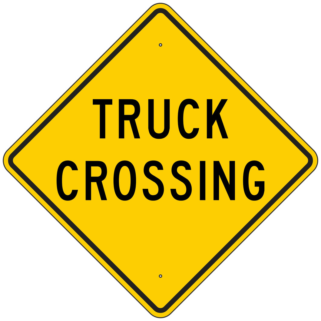 W8-6-Y Truck Crossing Yellow Sign