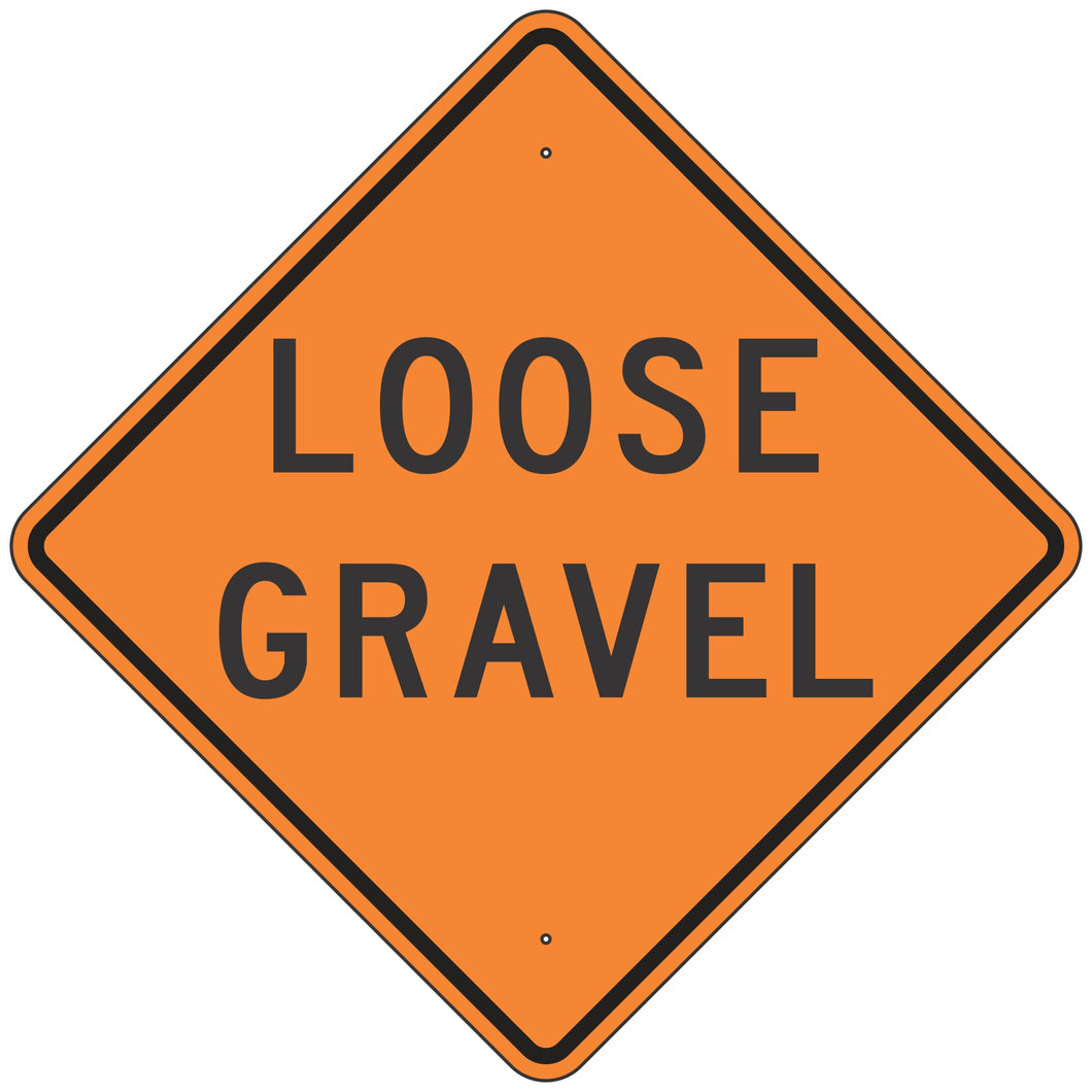 W8-7-O Loose Gravel Orange Sign