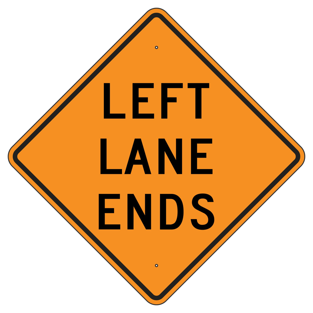 W9-1L-O Left Lane Ends Orange Sign